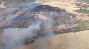 Imagen tomada por los medios aéreos a su llegada al incendio.