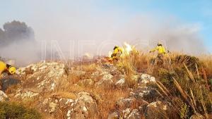 Imagen de los bomberos forestales del Infoca luchando contra el fuego en Pinos Puente.