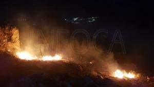 Imagen tomada anoche por el Infoca en el incendio de Pinos Puente.