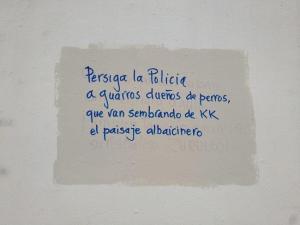 Pintadas con mensajes que han ido apareciendo en fachadas del Albaicín.