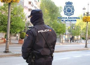 Un agente de vigilancia en la zona centro de Granada.