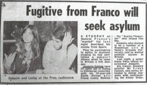 Recorte de The Sun (16 enero 1971) donde Joaquín, con su amante Lesley Bennun (la Pimpinela Escarlata), se presentó en Edimburgo como un desertor perseguido por Franco y solicitaba asilo político.