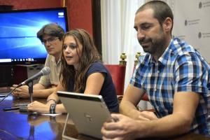 Jemi Sánchez, este martes, en rueda de prensa junto a los representantes de los colectivos que colaboran.