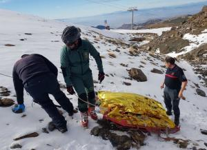 Una de las personas rescatadas estos días en Sierra Nevada.