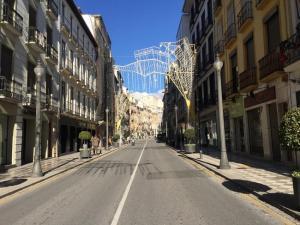 Imagen de Reyes Católicos, en la capital, con las luces navideñas aún instaladas.