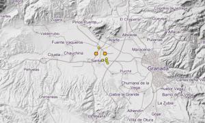 Captura de pantalla con las localizaciones de los últimos terremotos.