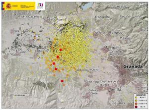 Mapa con la serie sísmica desde el pasado 1 de diciembre.