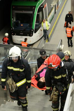 En el simulacro han sido atendidos 5 personas, como heridas.