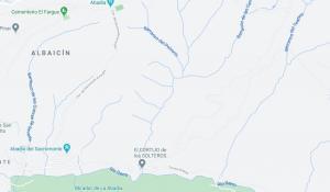 Arriba a la derecha, barranco del Teatino, donde ha ocurrido el accidente.