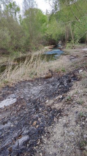 Zona calcinada en los márgenes del río.