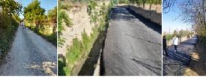 Uno de los caminos, antes de ser asfaltado (izqda.) y después de asfaltarse.