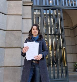 Marta Gutiérrez, cuando presentó la denuncia en la Fiscalía.