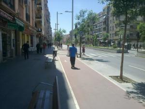 Peatón caminando por el carril bici del Camino de Ronda.