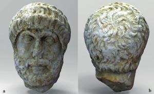 Frontal y nuca del retrato adraneo hallado en el Carmen del Zenete.