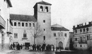 Grabado de la fachada original del convento de Santo Domingo, en Baza.