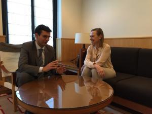 Francisco Cuenca con Laura García Lorca este miércoles en Madrid.