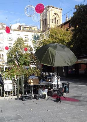 Set de rodaje en Plaza Bib-Rambla.