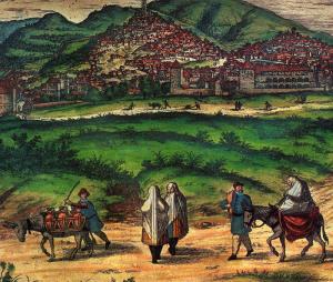 El monte antes de ser Sombrerete. En este grabado de 1564 se ve a la izquierda, parte superior de la ciudad, el monte Sombrero cuando aún no estaba redondeado ni lo circunvalaba una carretera. El autor lo dibujó fuera de la Cerca de Don Gonzalo. Así debió verlo el Gran Capitán en su aventura anterior a 1492.