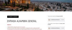 Captura de pantalla de la página web de la Alhambra.