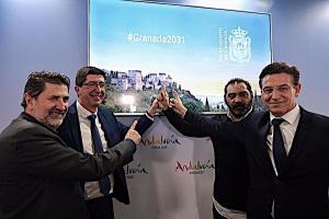 El alcalde, con el vicepresidente de la Junta, en un acto de apoyo a la candidatura granadina en Fitur.