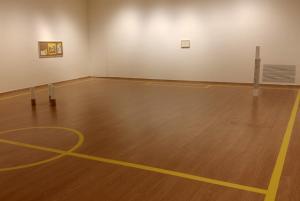 La sala, convertida en pista deportiva.