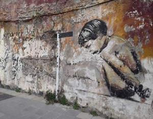 Estado actual del emblemático grafiti.