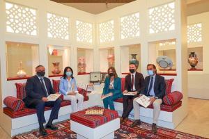Responsables de la Alhambra y la Junta, en la inauguración de la muestra.