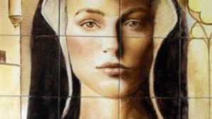 Retrato en azulejo portugués que representa a María Pacheco con la capucha negra que se colocó en la cabeza tras conocer la decapitación de Juan Padilla en Villalar.