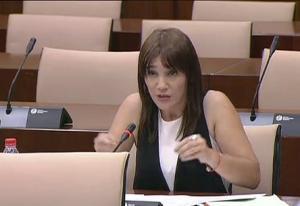 Olga Manzano en la Comisión de Cultura del Parlamento.