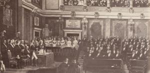 El Congreso en 1871, durante la toma de posesión de Amadeo de Saboya. Encima de la puerta del fondo se ve el cartel con el nombre de Mariana Pineda (en la cuarta línea). Es la fotografía más antigua que se conserva del hemiciclo.