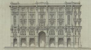 Fachada a Gran Vía, 47, con enorme puerta de acceso a la galería que distribuiría los accesos a las calles traseras.