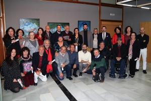 Foto de familia en el homenaje a Pepe Baena.