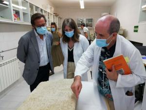 El director del museo explica la estela al delegado de Cultura.