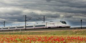 Un tren AVE pasa junto a un campo de amapolas.