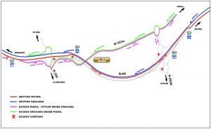 Incidencias en el tráfico de la A-44 en la fase 1.