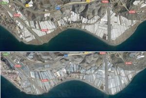 La imagen de arriba muestra el espacio de litoral liberado de invernaderos respecto a cómo estaba la zona en 2017 (imagen inferior).