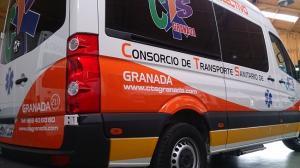 Una de las ambulancias de la empresa.