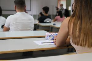 Aula universitaria, este lunes, en el inicio del curso académico.