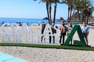 El delegado de Turismo, la alcaldesa de Almuñécar y otros representantes municipales, este sábado.