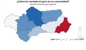 El mapa muestra cómo Córdoba ha sido la provincia con mayor descenso porcentual del paro, seguida de Sevilla, Cádiz y Jaén. Luego Málaga, Granada y Huelva, y por último Almería, en rojo, la única con aumento del paro en mayo.