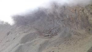 El glaciar del Corral del Veleta, sin una gota de nieve este mes de octubre por las altas temperaturas y la ausencia de precipitaciones.