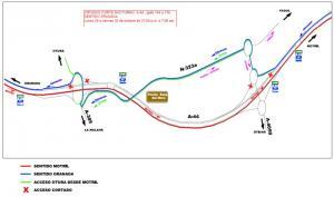 Plano de desvíos en la fase 1, del 26 al 30 de octubre.