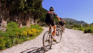 Ciclistas de montaña aficionados.