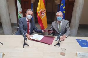 El ministro de Ciencia, Pedro Duque, y el consejero de Transformación Económica, Rogelio Velasco.