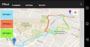 Captura de pantalla de la aplicación, con rutas en Granada.