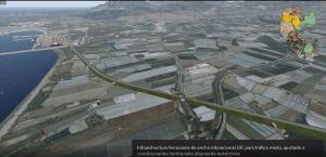 Fotomontaje del trazado de la vía de tren hasta el Puerto de Motril