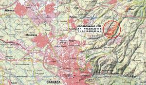 Ubicación (en círculo rojo) y extensión del parque fotovoltaico proyectado entre Víznar, El Fargue y Jun.