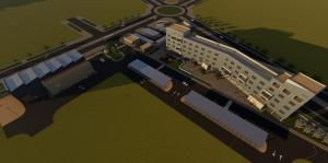 Infografía con vista aérea de los edificios de IFMIF-DONES que van a construirse en la primera fase.
