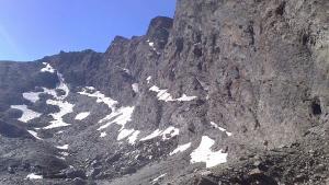 El glaciar del Corral del Veleta, a mediados de julio de este año, con muy poca nieve.