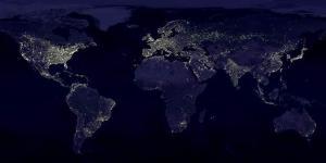 Mapa mundial de contaminación lumínica.